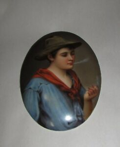 Antique Porcelain Portrait Plaque Poss Kpm Young Man Smoking Tobacco