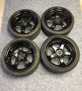 Genuine Work Meister S1r Wheels W Nitto Tires Rare 2tone Blk Custom