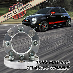 X2 Usa Made 4x98 To 4x100 Fits 4 Lug Fiat 500 Wheel Adapters 1 Spacers