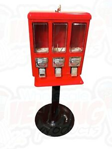 Metal Triple Bulk Vending Gumball Candy Machine 25 Vend Brand New
