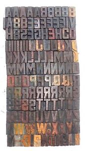 128 Piece Vintage Letterpress Wood Wooden Type Printing Blocks 50 M m bc 1862
