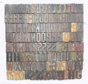 111 Piece Vintage Letterpress Wood Wooden Type Printing Blocks 33 M m bc 1853