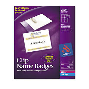 Avery Clip Style Name Badges Top Loading 3 X 4 Box Of 100