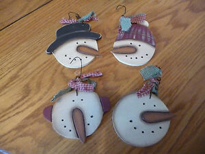 4 Wooden Prim Snowman Christmas Ornaments Gift Tags Hangtags Ornies