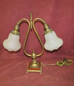 Antique Desk Lamp W Etched Glass Shades And Bakelite Base