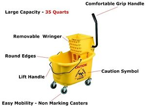 35 Qt Mop Bucket With Side Press Wringer Combo Yellow New