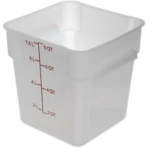 Carlisle Food Storage Container Box 8 Qt White 1073302 Case Of 6