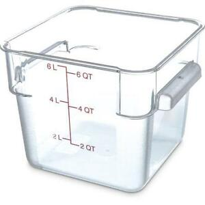 Carlisle Food Storage Container Box 6 Qt Clear 1072207 Case Of 6
