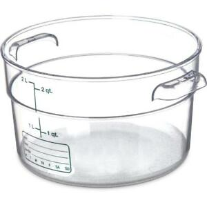 Carlisle Round Food Storage Container Box 2 Qt Clear 1076307 Case Of 12