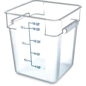 Carlisle Food Storage Container Box 18 Qt Clear 1072507 Case Of 6