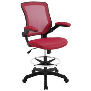 New Office Chair Drafting Stool Mesh Seat Tall Height Swivel Bar Work Desk Red