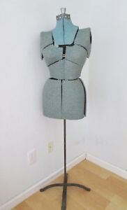 Vgc Vtg Adjustable Dress Form Mannequin Metal Stand Blue Fabric Covering