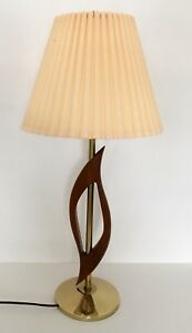 Mid Century Modern Solid Teak Lamp Cream Pleated Shade Table Desk Eames Era Vtg