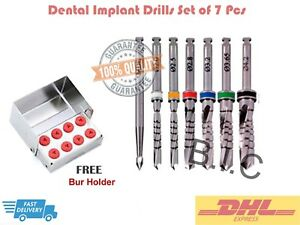 Dental Implant Drills Set Of 7 Pcs With Case Fast Expedited Shipping