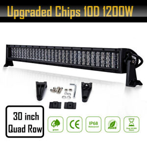 30inch 1200w Quad Row Led Light Bar 6000k Driving Spot Flood Off Road Atv Utv