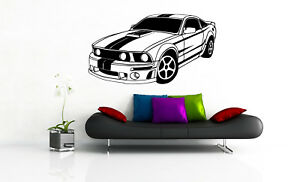 Ford Mustang Racing Decal Dealership Decor Room Sticker Mural Wall Car Decor