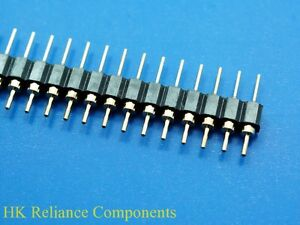 100 2 54mm Pin Headers Male 40 Pins 1x40 Single Row Strip Gold Flash