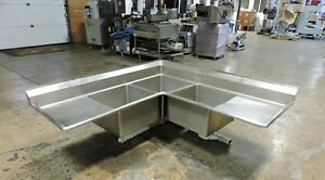 Commercial Stainless Steel 3 compartment Corner Sink W 2 Drainboards