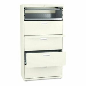Hon 600 Series 36 Inch Four Drawer Lateral File And One Roll Out Shelf