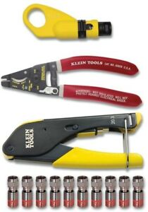Klein Tools 4 piece Complete Coax Electrical Installation Set Cable Cutter Crimp