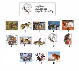 30 Personalized Return Address Labels Christmas Horses Buy 3 Get 1 Free ch1