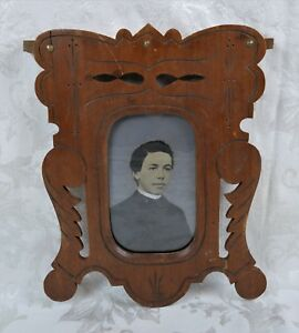 Antique 19th Century Eastlake Hand Carved Wood Picture Frame With Tin Type