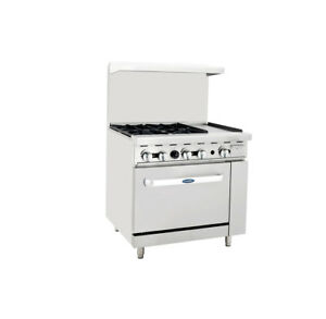 Atosa Ato 4b12g Commercial 4 Burner Gas Range W 12 Griddle right