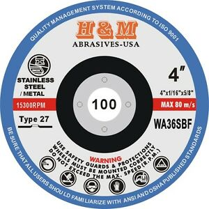 40 4 X 1 16 X 5 8 Cut off Wheels Stainless Steel Metal Cutting Disc Type 27