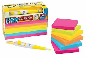 Post it Notes Value Pack With Free Flag Highlighter 3 X 3 inches Assorted Neon
