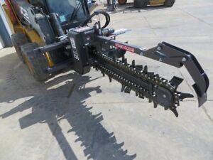 Bradco 625 48 X 6 Skid Steer Loader Trencher Attachment 70 30 Chain 14 22gpm