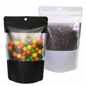 New Stand Up Mylar Zip Lock Bags With Window Different Colors 14x21cm 5 5x8 3
