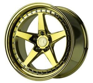 Aodhan Ds05 18x8 5 18x9 5 35 5x100 Gold Chrome Vacuum Staggered set Of 4