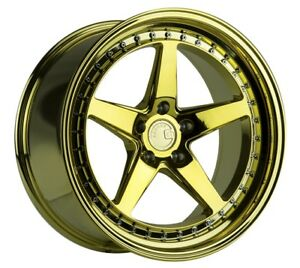 Aodhan Ds05 18x8 5 35 18x9 5 22 5x114 3 Gold Chrome Vacuum Staggered set Of 4
