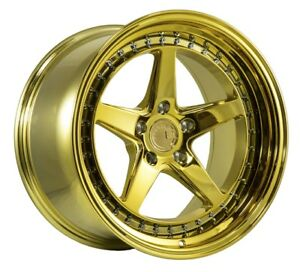 Aodhan Ds05 18x10 5 15 5x114 3 Gold Chrome Fits Rx7 Rx8 300zx Mustang Stance
