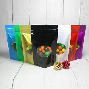 New Stand Up Polyethylene Zip Lock Bags With Window Multiple Colors And Sizes