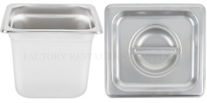 4 Pack 1 6 Size Stainless Steel W Lid Buffet Steam Prep Table Food Pan 6 Deep