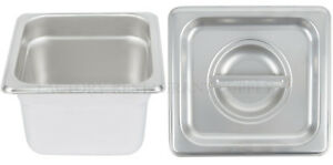 4 Pack 1 6 Size Stainless Steel W Lid Steam Prep Table Food Insert Pan 4 Deep