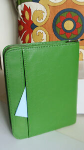 Compact 1 Rings Green Leather Franklin Covey Planner binder Zip Cute