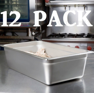 12 Pack Full Size 6 Deep Stainless Steel Steam Prep Table Buffet Food Pan Nsf