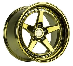 Aodhan Ds05 19x9 5 15 19x11 22 5x114 3 Gold Chrome Vacuum Staggered set Of 4