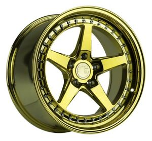 Aodhan Ds05 19x9 5 22 19x9 5 15 5x114 3 Gold Vacuum Chrome Staggered set Of 4