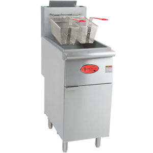 Avantco 40 Lb Commercial Restaurant Natural Gas Stainless Steel Floor Deep Fryer