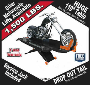 1500lb 110 Table Motorcycle Lift Lifts W Side Ext Free Shipping W service Jack
