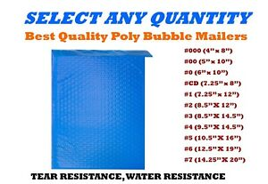 Blue Poly Bubble Mailers Shipping Mailing Padded Bags Envelopes Self seal Sizes