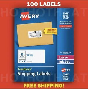100 Avery 5963 5163 8163 5263 95945 Address Mailing Shipping Labels 2 X 4
