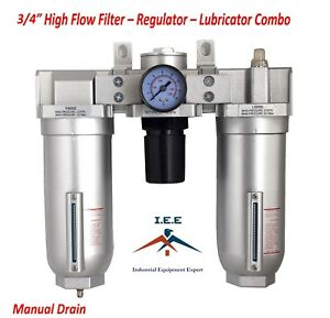 3 4 Heavy Duty Frl Filter Regulator Lubricator Air Control Manual Drain C906n
