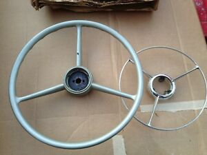 Nos Mopar Dodge 13241072 Steering Wheel 1951 1952 With Nos 1324082 Horn Ring
