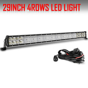 30inch 3360w Led Light Bar Quad Row Combo Suv 4wd Offroad White Driving Lamp 29