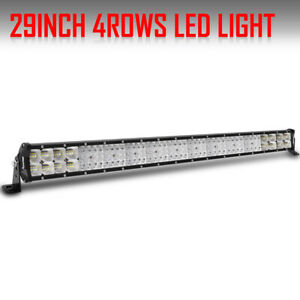 8modes Straight 32 Inch Led Work Light Bar Amber white strobe Tri Row Trucks