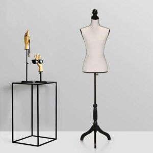 Female Mannequin Torso Dress Form Display W white Tripod Stand Us Styrofoam New